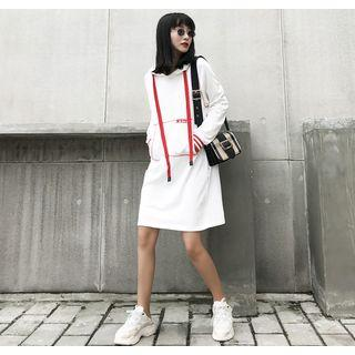Tie-accent Hooded A-line Dress