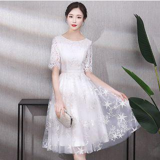 Star Embroidered Elbow Sleeve Lace Evening Dress