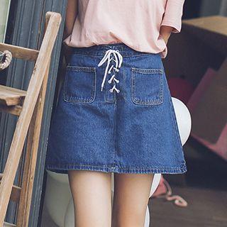 Lace Up A-line Denim Skirt