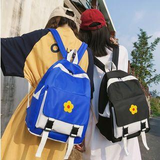 Flower Embroidered Color Block Nylon Backpack
