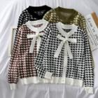 Ribbon-accent Houndstooth Knit Top