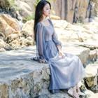 Chiffon Lantern-sleeve Gathered-waist Sheath Midi Dress