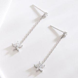 925 Sterling Silver Rhinestone Flower Dangle Earring S925 - Silver - 1 Pair - One Size