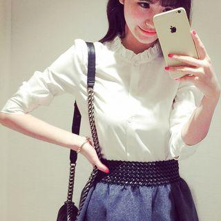 Frill Collar Long Sleeve Shirt