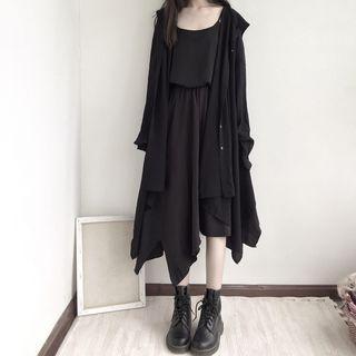Embroidered Long-sleeve T-shirt / Irregular Hem Midi A-line Skirt
