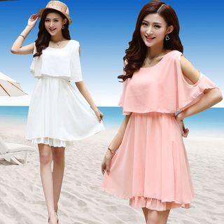 Cold-shoulder A-line Chiffon Dress