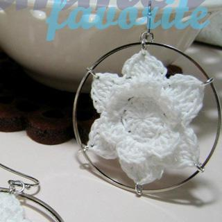 Vintage Lace Flower Circle Earrings
