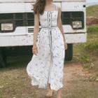 Printed Strappy Button Midi Slit Dress