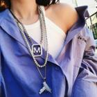 Rhinestone Lettering Pendant Necklace/ Chain Necklace