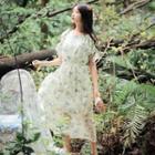 Cutout-shoulder Floral Chiffon Dress