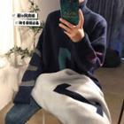 Loose-fit Turtleneck Printed Sweater