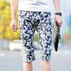 Floral Panel Cropped Pants