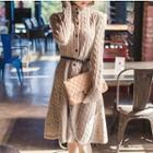A-line Cable Knit Long Cardigan