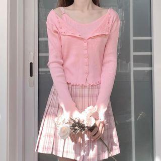 Set: Plain Cardigan + Cropped Camisole