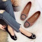 Square-toe Embellished Flats