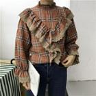 Ruffled Plaid Long-sleeve Blouse