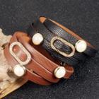 Faux Pearl Genuine Leather Bracelet