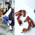 Genuine Leather Block Heel Sandals