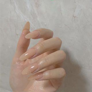 Pointed Faux Nail Tip 303 - Glue - Beige - One Size
