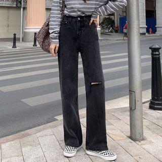 Distressed Wide-leg Jeans / Belt / Set