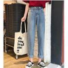 Retro High-waist Jeans Pants Shift Pants Cropped Pants