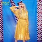Long-sleeve Cutout-shoulder Dotted Dress