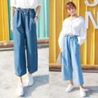 Drawstring-waist Wide-leg Cropped Jeans
