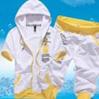 Set: Short-sleeve Hooded Lettering Jacket + Cropped Sweatpants