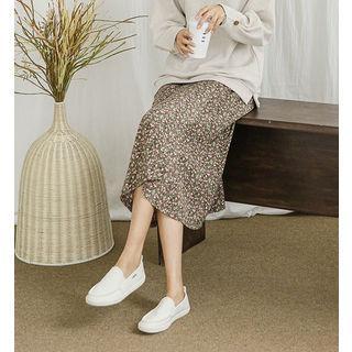 Band-waist Long Floral Flared Skirt