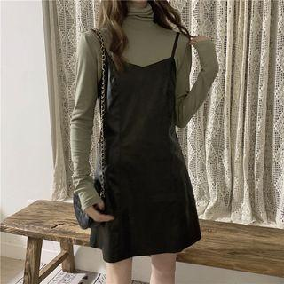 Turtleneck Long-sleeve Top / Faux Leather A-line Mini Pinafore Dress