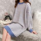 Contrast-trim Print Sweater Dress