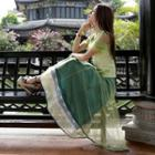 Lace Trim Mesh Overlay Midi Skirt