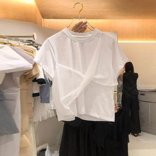 Plain Twist Short-sleeve Top