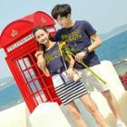 Couple Matching Lettering Short Sleeve T-shirt / Short Sleeve Dress