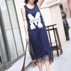Mock Two-piece Letter Mesh Panel Sleeveless Dress
