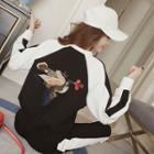 Set: Animal Embroidery Sweatshirt + Sweatpants