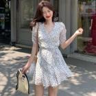 Short-sleeve Polka Dot Chiffon A-line Dress