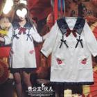 Elbow-sleeve Embroidered Mini Dress