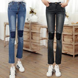 Washed Knee Patch Jeans