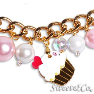 Mini Gold White Cupcake Swarovski Crystal Charm Bracelet Gold - One Size