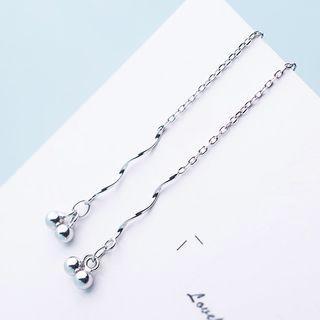 925 Sterling Silver Wavy Dangle Earring Silver - One Size