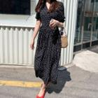 Polka-dot Crinkled Dress Black - One Size