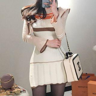 Color Block Long-sleeve Knit Dress Khaki - One Size