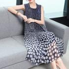 Dotted Sleeveless Midi Silk Dress