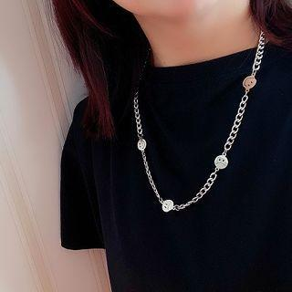 Alloy Smiley Necklace Silver - One Size