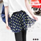 Inset Chiffon Flare Skirt Leggings