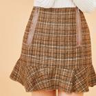 Ruffle-hem Zipped Plaid Mini Skirt