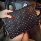Skull Stud Genuine Leather Clutch Black - One Size