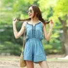 Spaghetti-strap Embroidered Denim Playsuit
