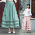 Flower Maxi A-line Skirt